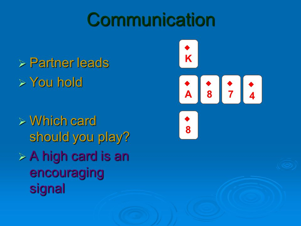 Communication  Partner leads  You hold  Which card should you play.