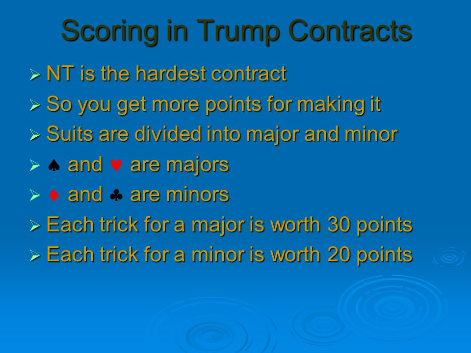 Scoring Tricks 7 8 9 10 11 12 13 40303030303030 40 70 100 130 160 190 220 30303030303030 30 60 90 120 150 180 210 20202020202020 20 40 60 80 100 120 140 NTMajorMinor 100 points is a game score