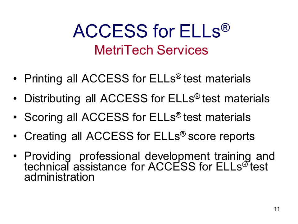 12 Secure Web-based ordering at MetriTech Web site www.metritech.com Test materials and Pre-ID labels $23 per student Pre-ID label file formats: Excel and CSV (comma separated) 10% overage for all materials ordered Orders shipped and returned by UPS ground Note: Orders may also be sent via Fax.