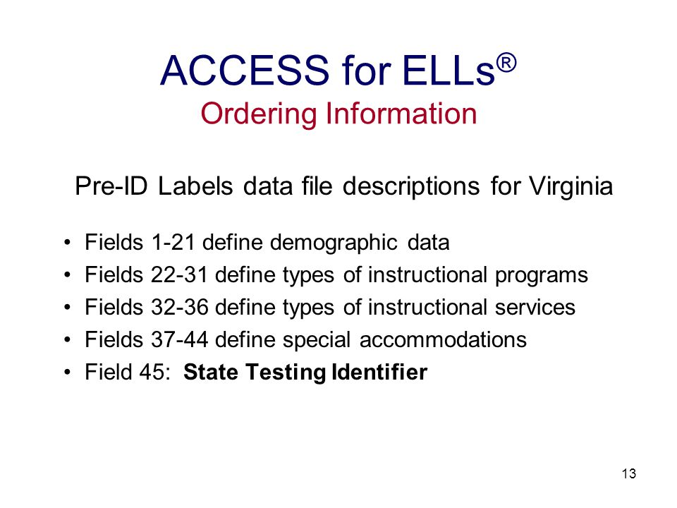 14 Pre-ID Label Sample ACCESS for ELLs ® Ordering Information