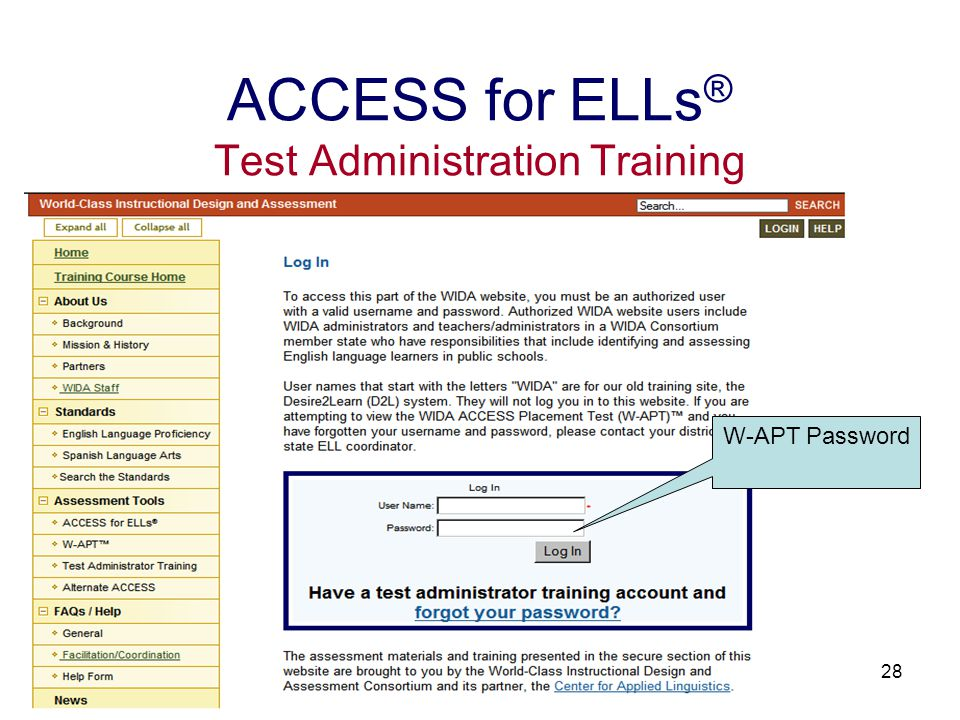 29 ACCESS for ELLs ® Test Administration Training Select Create an ACCESS for ELLs ® training account