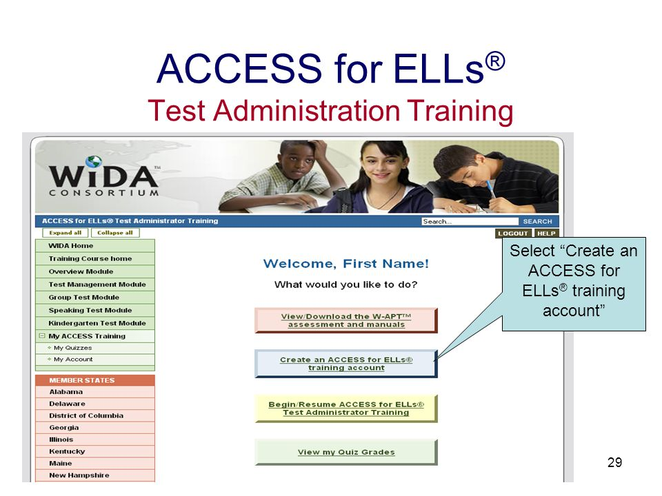30 ACCESS for ELLs ® Test Administration Training Click Continue