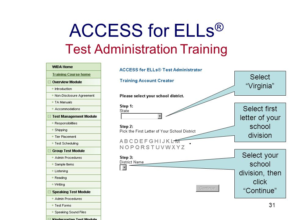 32 ACCESS for ELLs ® Test Administration Training Enter the following information: First name Last Name E-mail Address Retype E-mail Address Password Retype Password This information may be considered optional. Click Create My Account!