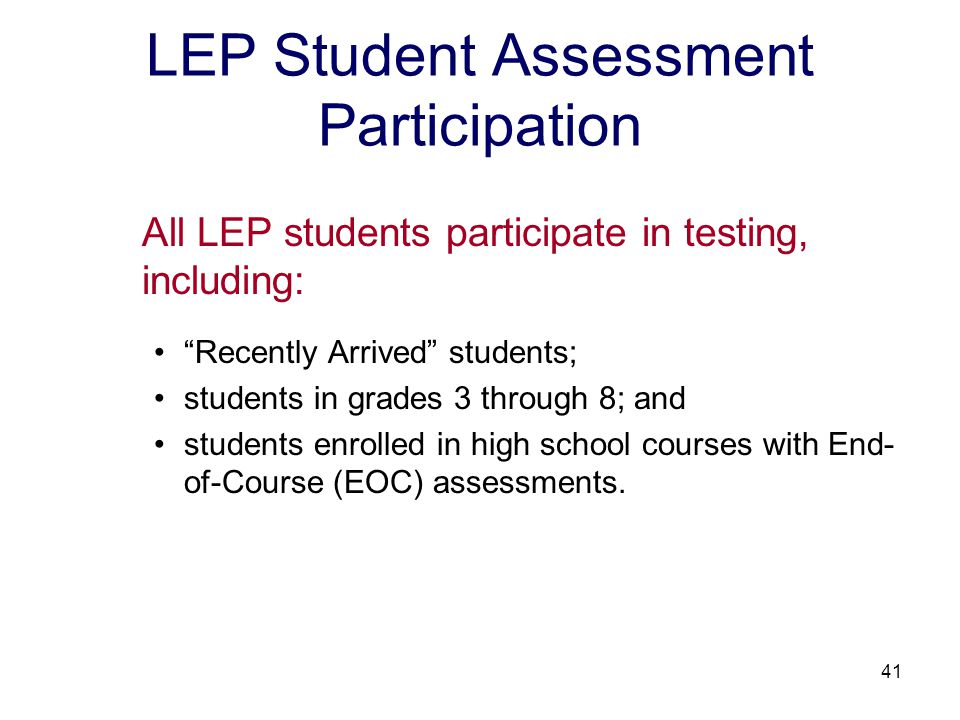 42 Assessment Participation 2008-2009 Reading LEP students who have attended schools in the United States for less than 12 months may receive a one-time exemption for the SOL reading test in grades 3 through 8.
