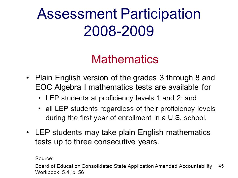 46 Assessment Participation 2008-2009 Science NCLB Requirement LEP students are to participate in the SOL science tests once in elementary school, once at the middle level, and once at the high school level.