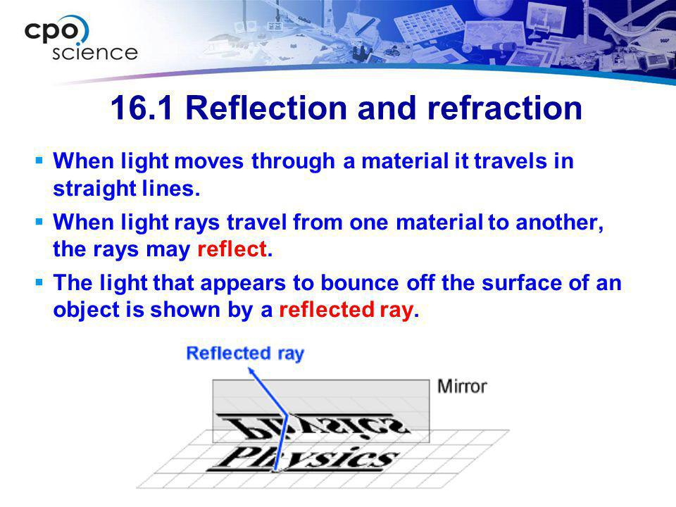 16.1 Reflection and refraction  Objects that are in front of a mirror appear as if they are behind the mirror.