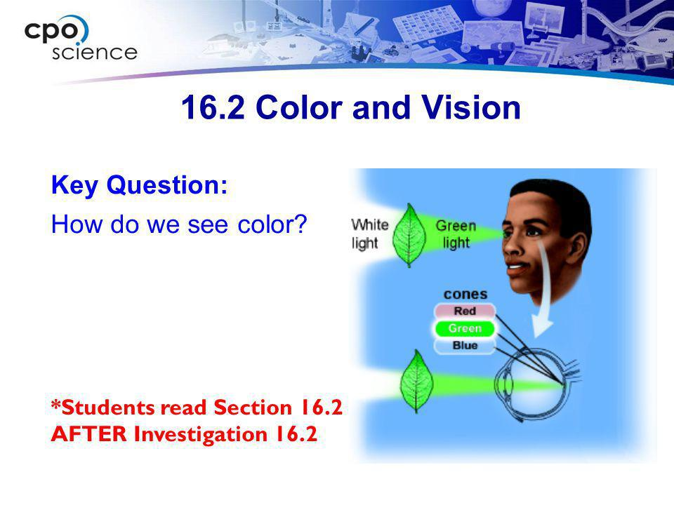 16.2 Color and Vision  When all the colors of the rainbow are combined, we do not see any particular color.