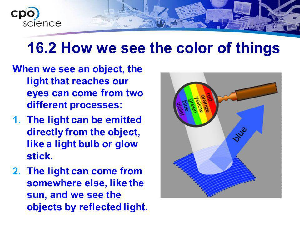 16.2 How we see the color of things  Colored fabrics and paints get color from a subtractive process.