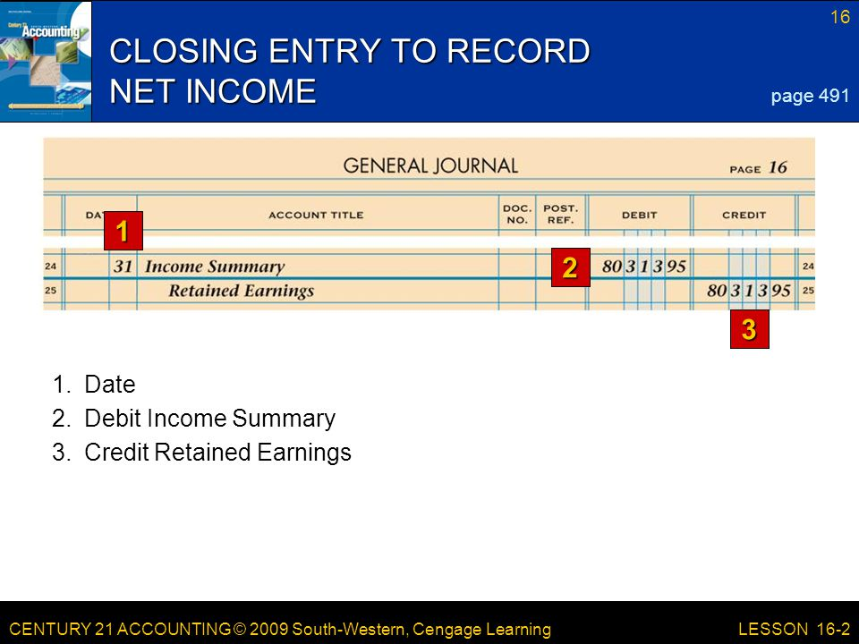 CENTURY 21 ACCOUNTING © 2009 South-Western, Cengage Learning 17 LESSON 16-2 CLOSING ENTRY FOR DIVIDENDS page 491 3.Credit Dividends 1.Date 2.Debit Retained Earnings 1 2 3