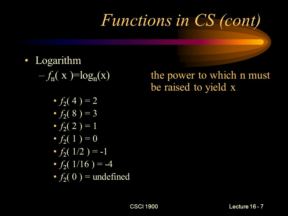 Growth of Functions CSCI 1900 Lecture 16 - 8