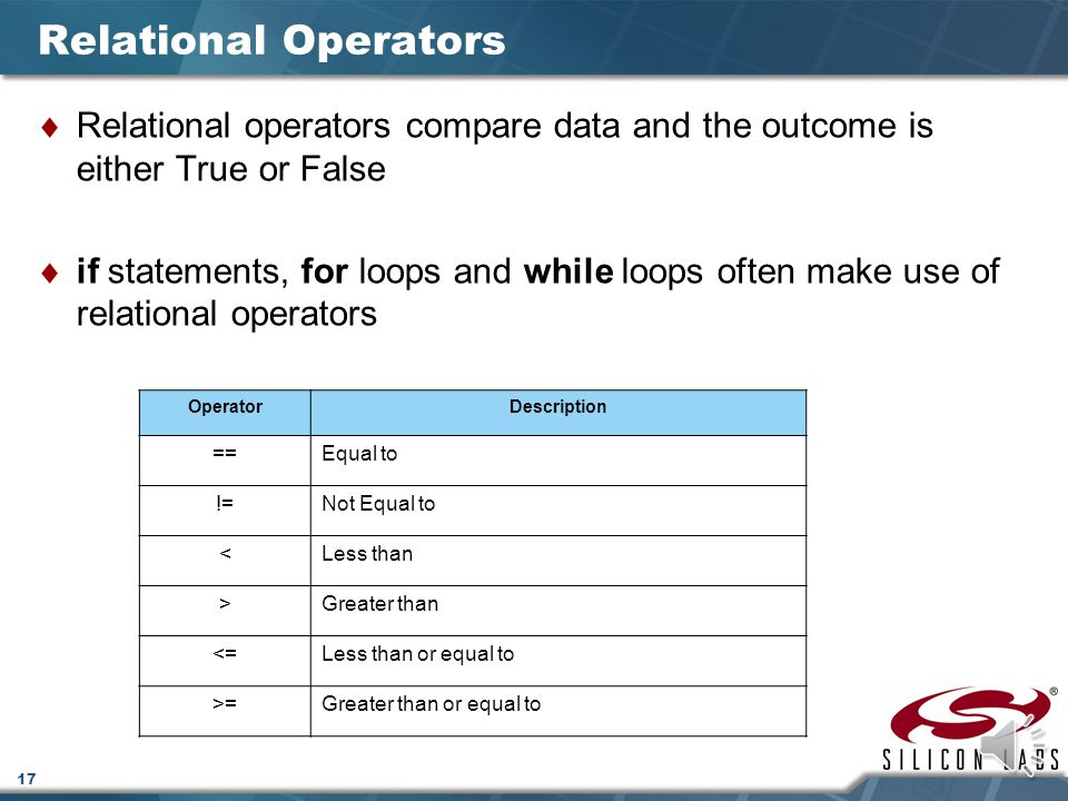 17 Relational Operators  Relational operators compare data and the outcome is either True or False  if statements, for loops and while loops often make use of relational operators OperatorDescription ==Equal to !=Not Equal to <Less than >Greater than <=Less than or equal to >=Greater than or equal to