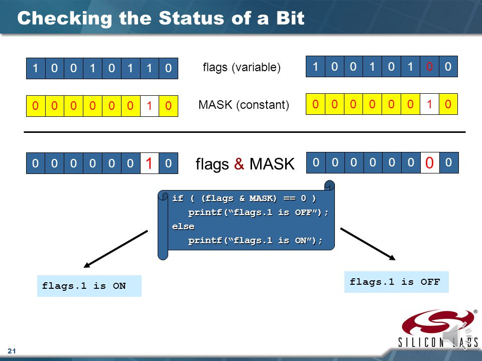 21 Checking the Status of a Bit 10010110 flags (variable) 00000010 MASK (constant) 000000 1 0 flags & MASK 1001010000000010000000 0 0 if ( (flags & MASK) == 0 ) printf( flags.1 is OFF ); printf( flags.1 is OFF );else printf( flags.1 is ON ); printf( flags.1 is ON ); flags.1 is ON flags.1 is OFF