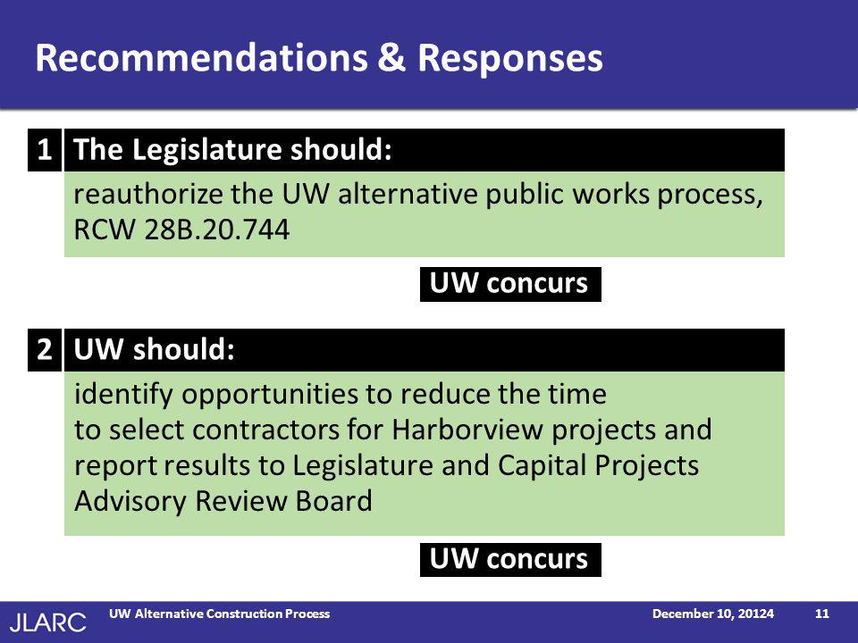 Recommendations & Responses (continued) December 10, 2014UW Alternative Construction Process12 develop a process to track payments made to woman and minority owned subcontractors for projects using the alternative process UW should: review post-selection activities to identify opportunities to reduce time to begin constructing Harborview projects and report results to Legislature and Capital Projects Advisory Review Board UW should: UW partially concurs 4 3 UW concurs Note: The Office of Financial Management (OFM) responded that it did not have comments on this report