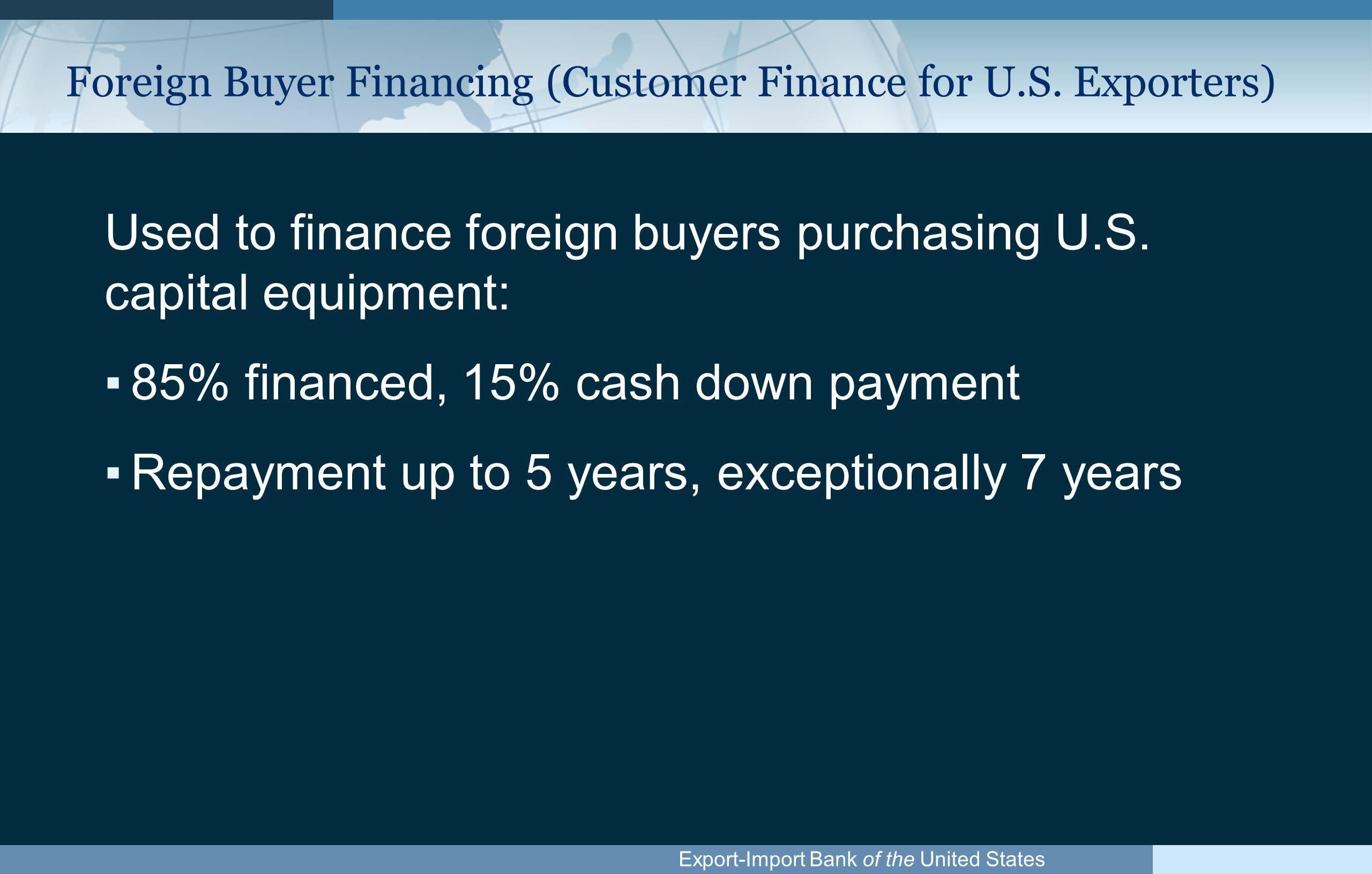 Export-Import Bank of the United States Buyer Financing (cont.) Financing can be accomplished through the following Ex-Im products: ▪Loan Guarantees ▪Export Credit Insurance ▪Direct Loans
