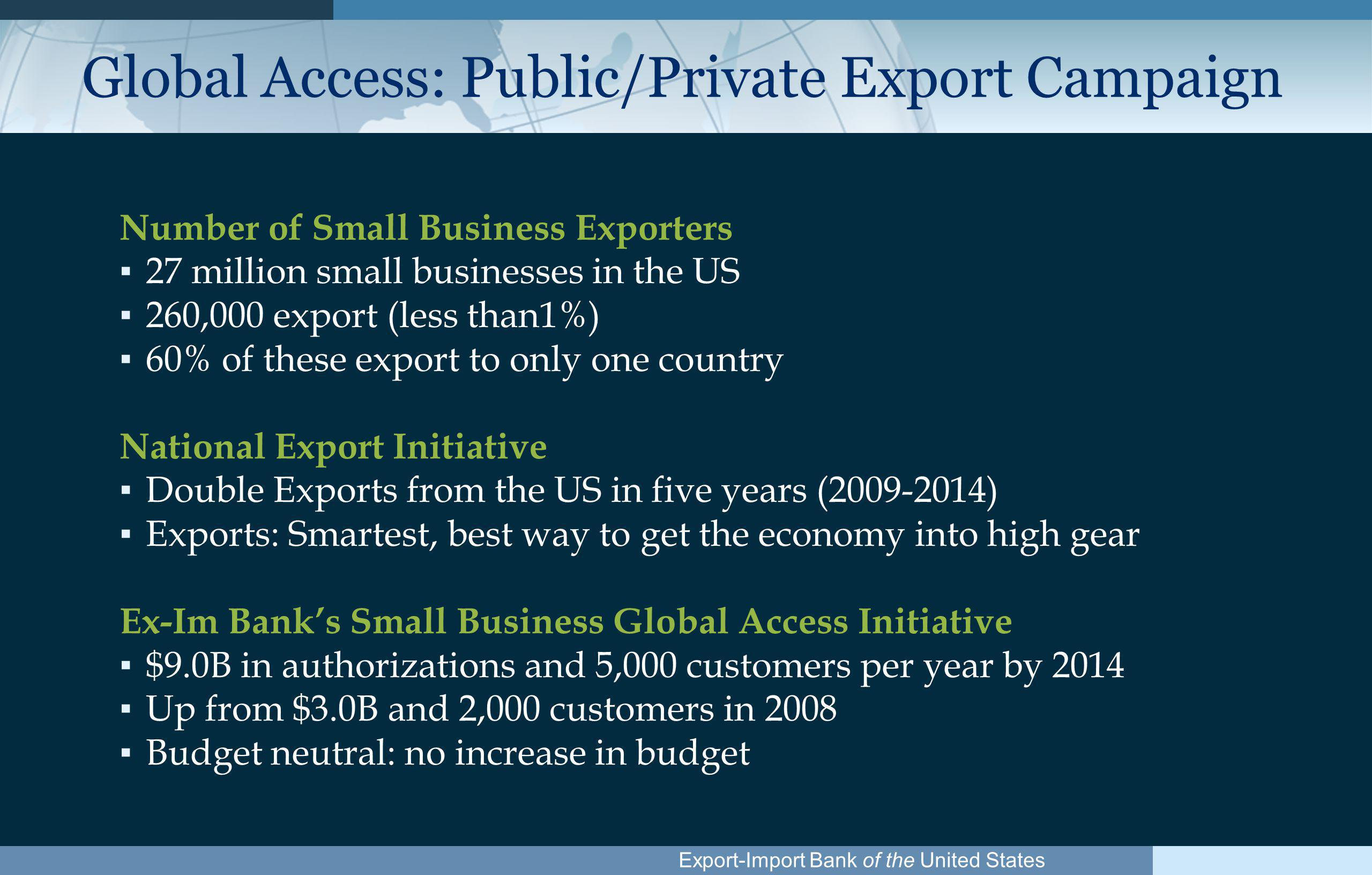 Export-Import Bank of the United States Support in Over 150 Countries 1.