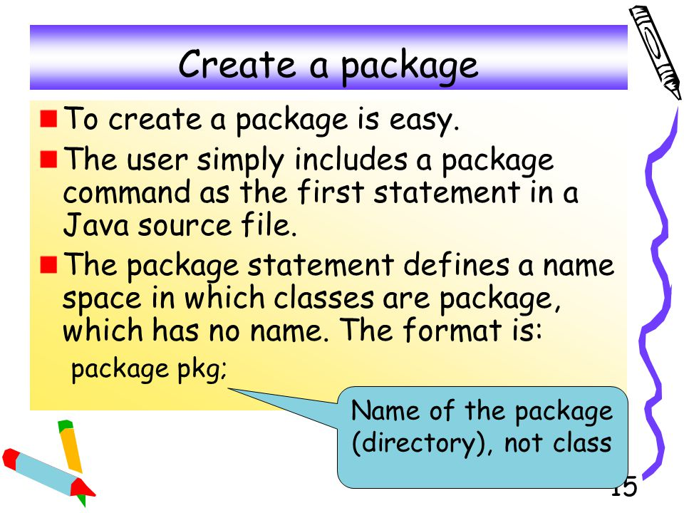 16 Package Hierarchy The package hierarch is: package java.awt.image; It access the package in java/awt/image