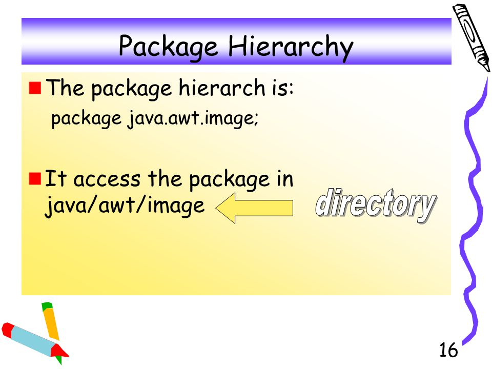 17 Example (1) Make a directory called YourPackage under your current directory mkdir YourPackage Use a notepad to create a file as follows and put it under the directory of YourPackage