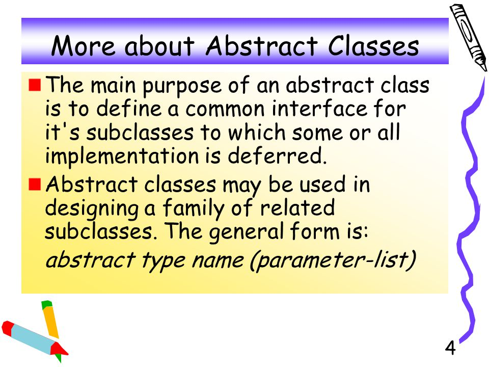 5 Example of Abstract In an object-oriented drawing application, we can draw circles, lines, squares, and so on.