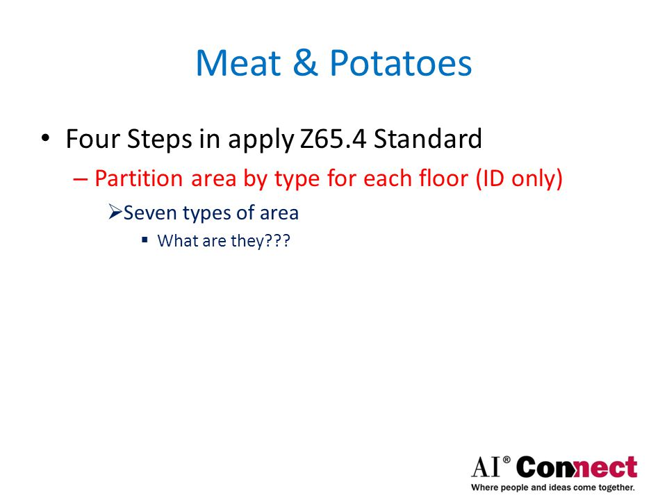 Meat & Potatoes Seven Types of Areas – Major Vertical Penetration – Structured Parking – Living Units – Restricted Headroom – Limited Common Area – Storage Unit – Common Area  Voids aren't considered a space, since they're not part of CGA