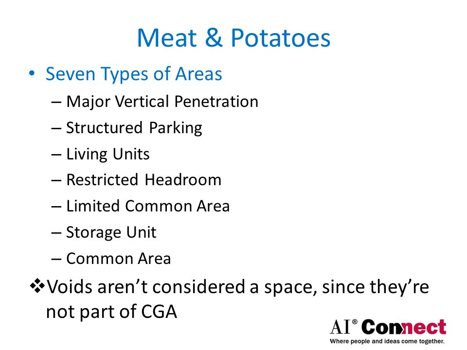 Meat & Potatoes Four Steps in apply Z65.4 Standard – Determine boundaries of each type of space  Figure out wall measuring point  Interior finished side; also called near-side  Exterior side (finished | unfinished); also called far-side  Mid-point of wall  Use Wall Priority Diagrams to decide measuring point