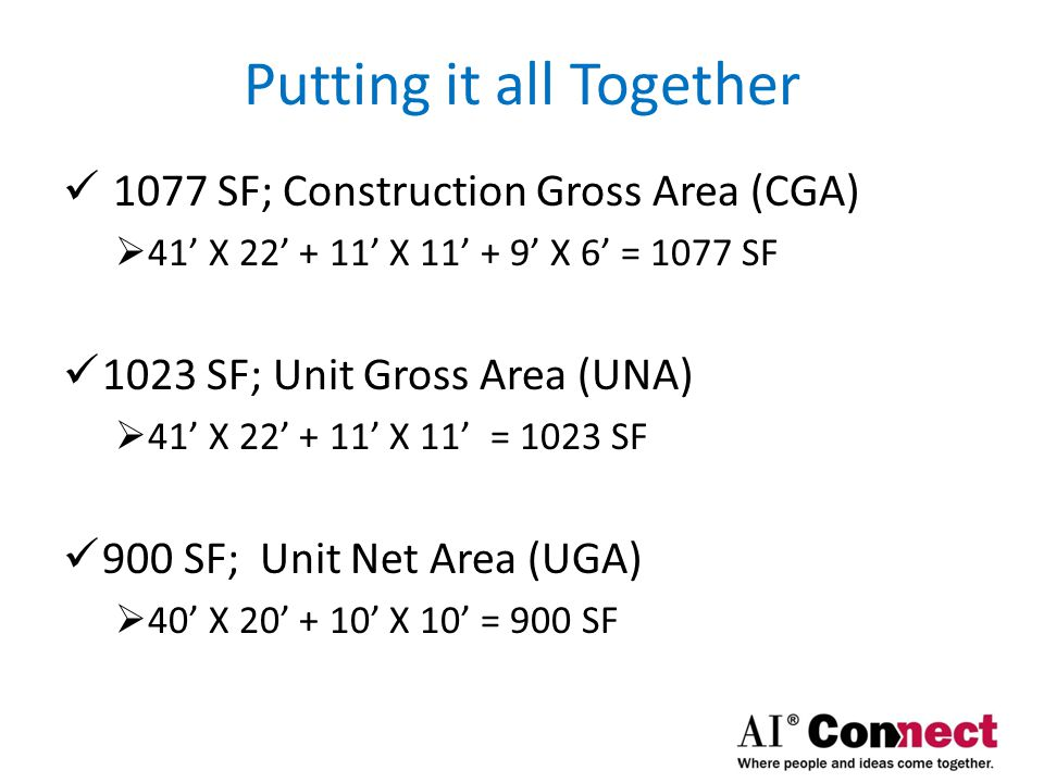 Putting it all Together 64 SF for Major Vertical Penetration (MVP)  8' X 8' = 64 SF 167 SF for Common Area (CA)  11' X 21' – (8' X 8'; elevator) = 167 SF 56 SF for Limited Common (LC) Area  6' X 9' = 54 SF 100 SF for Void Area  10' X 10' = 100 SF (Method B)