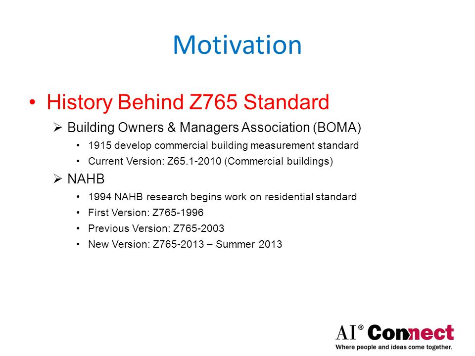 Motivation Z765 Participants (partial list)  Appraisal Foundation  American Institute of Architects  Consumers Union  Employee Relocation Council (ERC)  Fannie Mae  Freddie Mac  HUD  International Code Council  Manufacturer Housing Institute  National Association of Home Builders (NAHB)  National Association of Realtors (NAR)  Veterans Administration