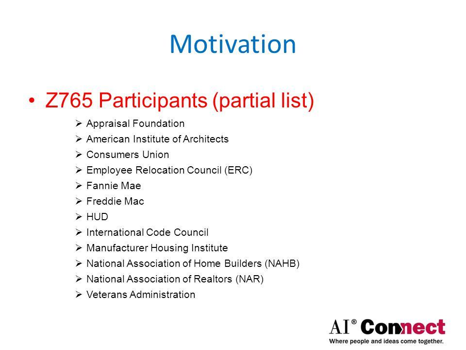 Motivation States that use ANSI Z765 (partial list)  Alabama  Arkansas  Colorado  Kentucky  Louisiana  North Carolina