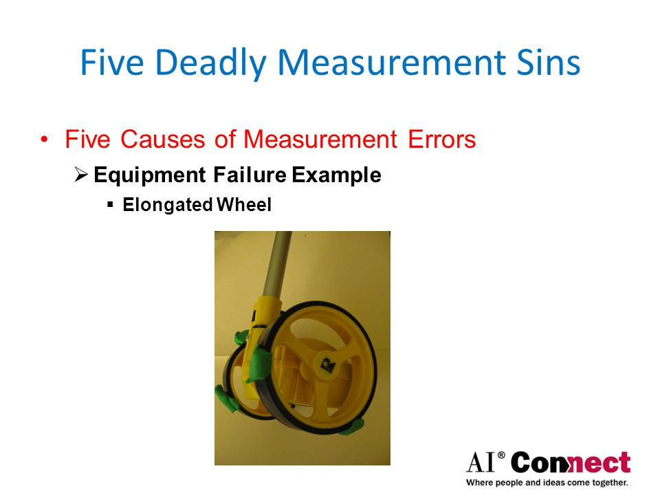 Five Deadly Measurement Sins Five Causes of Measurement Errors  Measuring Issues  Equipment Failure  Measuring Wheels  Fiberglass Tape Measurers  Laser Measurers  Squaring Error