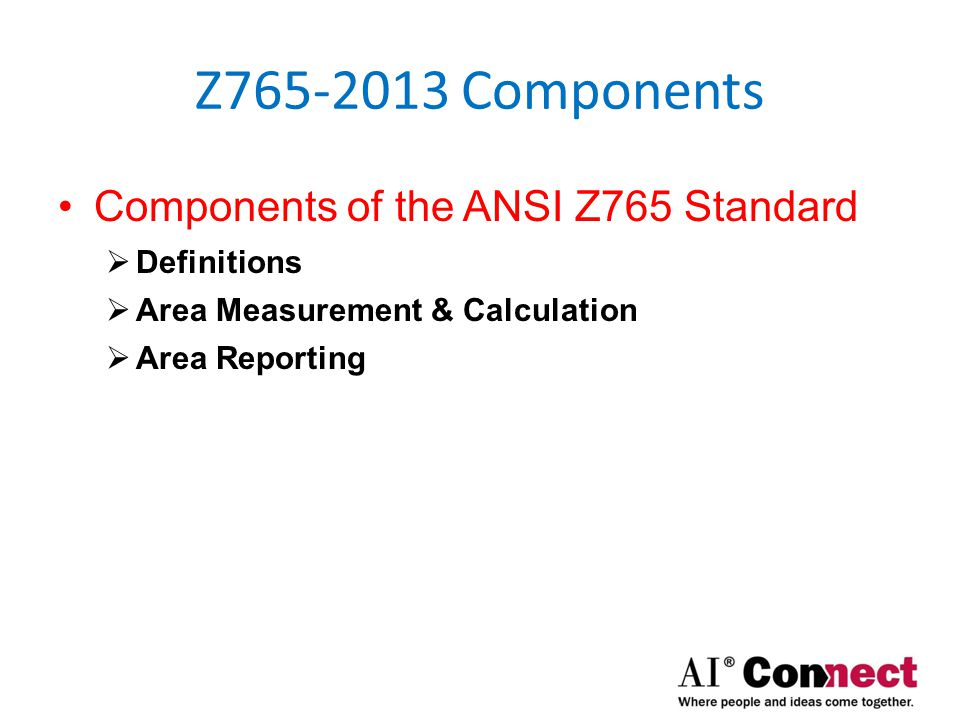 Z765-2013 Components Components of the ANSI Z765 Standard  Definitions  Attached Single-Family Residential (SFR) Home  A house that has its own roof & foundation, and is separated by dividing walls that extend from the roof to the foundation.