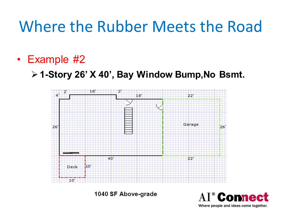 Where the Rubber Meets the Road Example #3  1-Story 26' X 40', Bay, 25% below-grade Bsmt.
