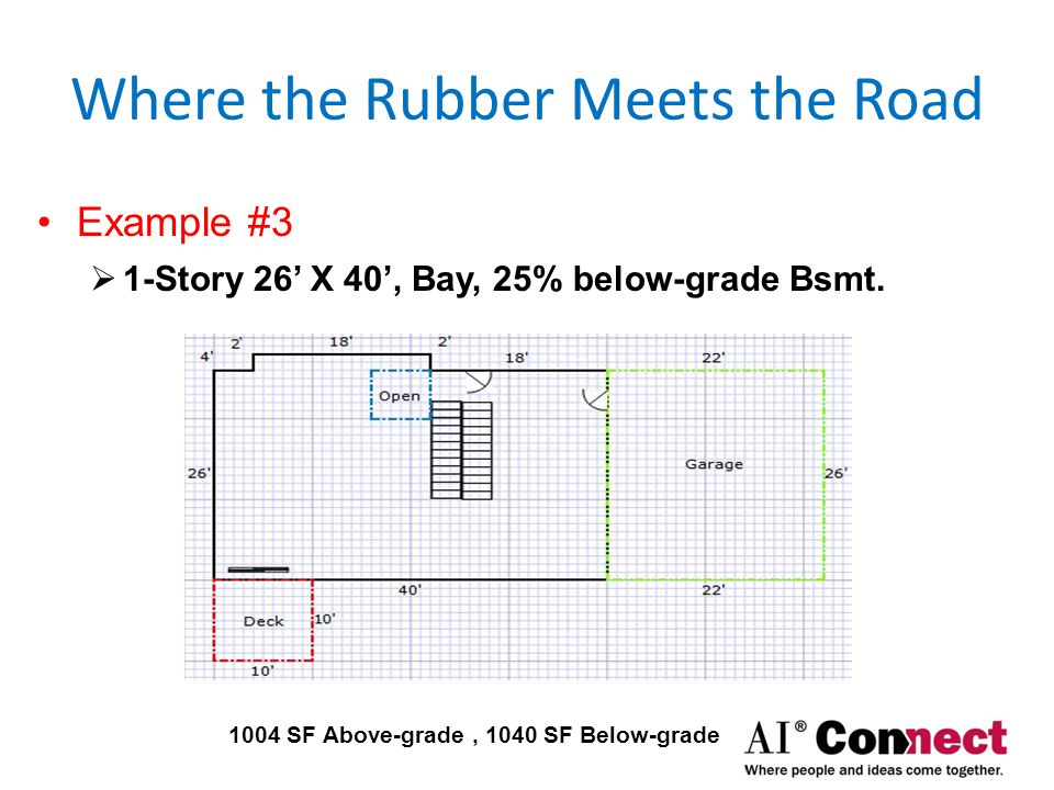 Where the Rubber Meets the Road Examples #4  2-Story 26' X 40', Bay, Bsmt + 6' X 6' Open Foyer 2044 SF Above-grade, 1040 SF Below-grade