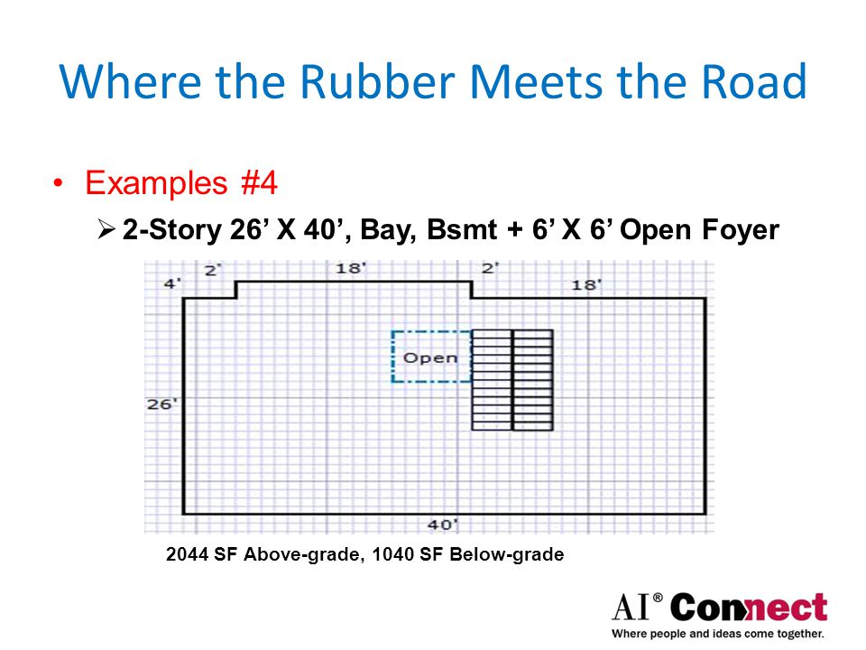 Where the Rubber Meets the Road Examples #5  2-Story 26' X 40', Flr, Bsmt + 6' X 6' Open Foyer 2044 SF Above-grade, 1076 SF Below-grade