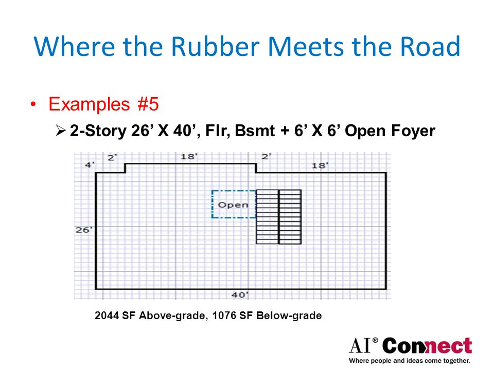 Where the Rubber Meets the Road Examples #6  2-Story 26' X 40', Flr, 25% below-grade Slab 1040 SF Above-grade, 1076 SF Below-grade