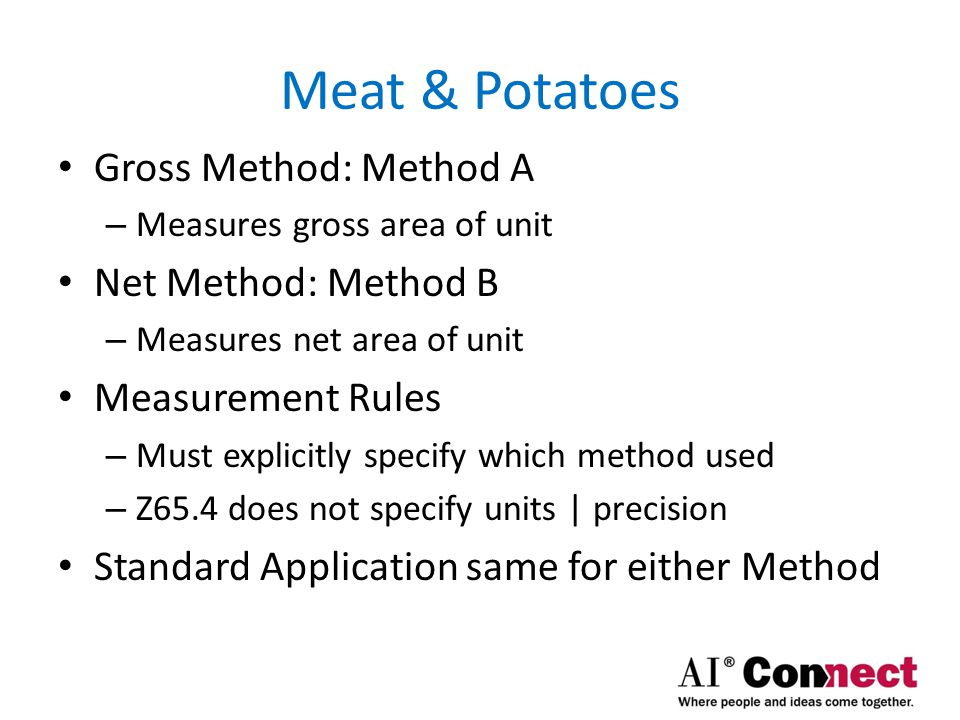 Meat & Potatoes Four Steps in apply Z65.4 Standard – Determine CGA – Partition area by type for each floor – Determine boundaries of each type of space – Calculate all areas and tabulate