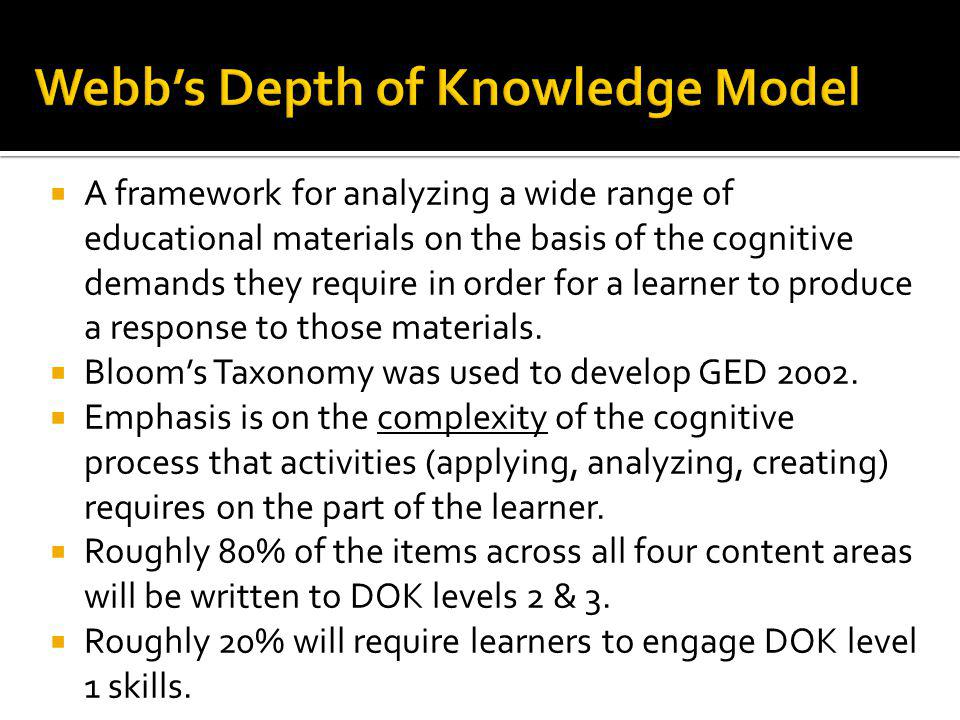 Bloom's Taxonomy Webb's Depth of Knowledge Knowledge Recall Comprehension ApplicationBasic application of skill/concept AnalysisStrategic thinking Synthesis & evaluationExtended thinking