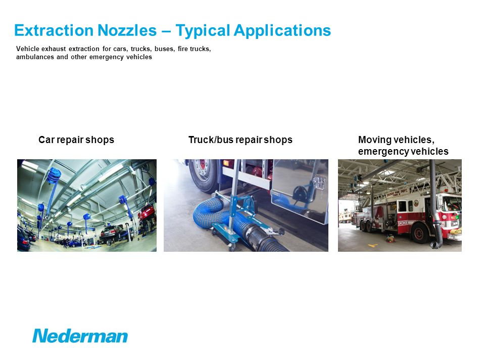 5 Extraction Nozzles – Overview of the Product Range Manual disconnection Rubber Nozzles Nozzle on floor standVertical exhaust pipe Automatic disconnection Rubber Nozzles