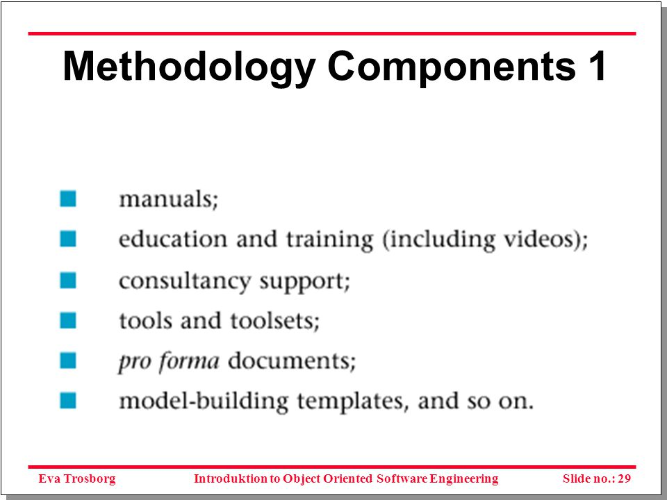Eva TrosborgSlide no.: 30Introduktion to Object Oriented Software Engineering Methodology Components 2