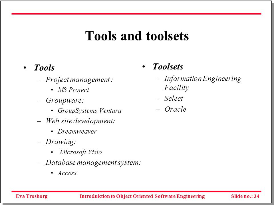 Eva TrosborgSlide no.: 35Introduktion to Object Oriented Software Engineering Yet more questions Will methodologies solve the problems of IS development.