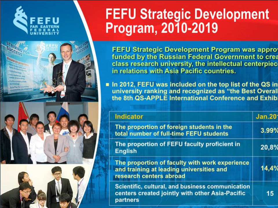 FEFU mission The mission of Far Eastern Federal University is to foster mutual understanding and cooperation in Asia-Pacific countries, to ensure their social and cultural prosperity and to shape talents of young people.