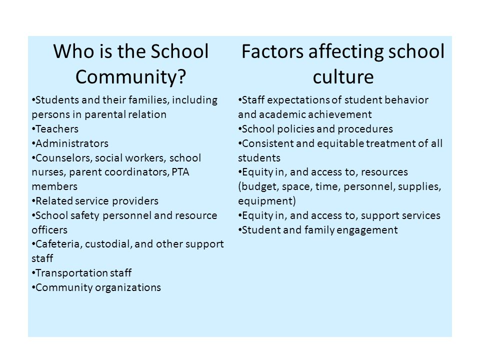 Areas of Focus to Promote Positive School Culture Social Environment – Interpersonal Relations – Respect for Diversity – Emotional Wellbeing and Safety – Student Engagement – School and Family Collaboration – Community Partnerships Physical Environment – Building Safety – Physical Safety – School-wide Protocol – Classroom Management Behavioral Environment, Expectations, and Support – Physical and Mental Wellbeing – Prevention and Intervention Services – Behavioral Accountability