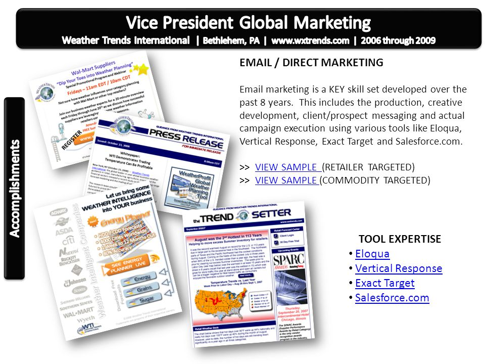SAMPLE DIRECT MARKETING CREATIVE Examples of creative marketing developed for various trade publications and email marketing campaigns.