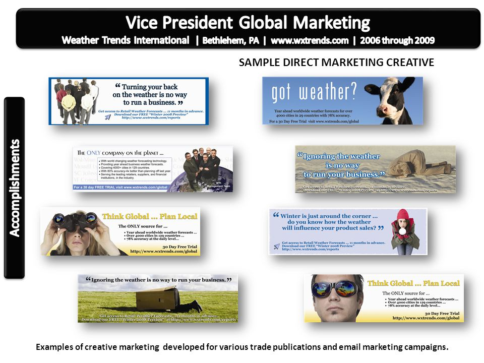 Lead marketing executive for the top advertising and creative marketing firm for real estate, mortgage, and title professionals on the East coast.