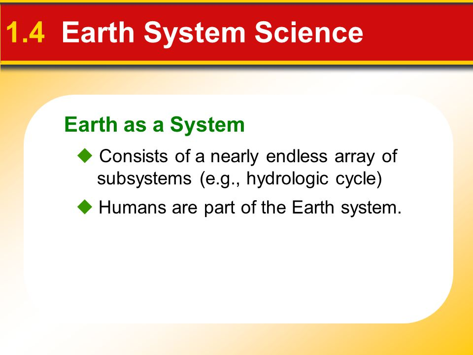 People and the Environment 1.4 Earth System Science  Environment Surrounds and influences organisms Physical environment encompasses water, air, soil, and rock The term environmental is usually reserved for those aspects that focus on the relationships between people and the natural environment.
