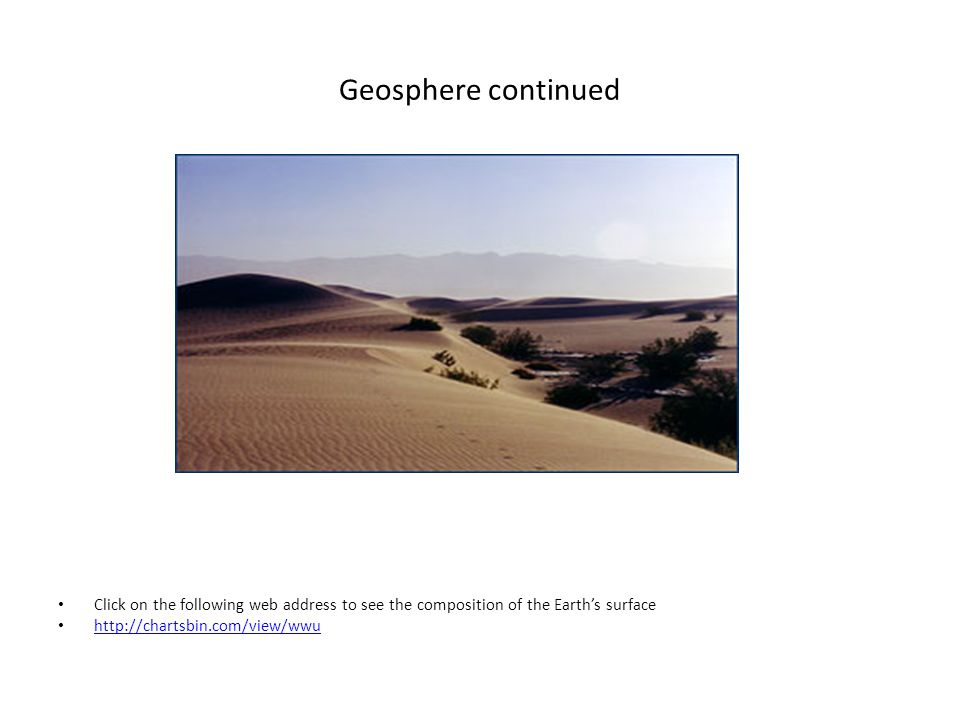 Composition of the Earth's surface http://www.google.com/imgres?imgurl=http://www.worldproutassembly.org/earth2_88.jpg&imgrefurl=http://www.worldproutassembly.org/archiv es/2008/03/ http://www.google.com/imgres?imgurl=http://www.worldproutassembly.org/earth2_88.jpg&imgrefurl=http://www.worldproutassembly.org/archiv es/2008/03/ Composition of the Earth's surface: – 32.1% iron30.1% oxygen – 15.1% silicon13.9% magnesium – Other elements: carbon, nickel, aluminum, calcium, potassium, sodium