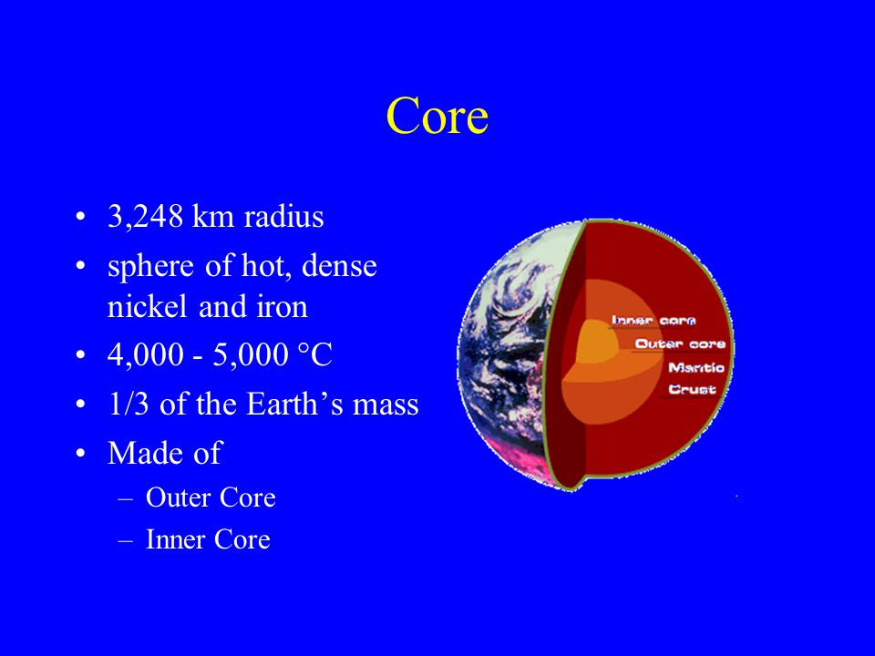 Outer Core; 2,200 km thick, outer shell, made of liquid nickel and iron Inner Core: 1,228 km radius; a sphere of solid iron and nickel