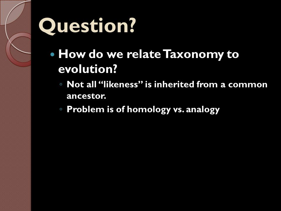 Homology and Analogy Homology – likeness attributed to shared ancestry (divergent and parallel evolution) ◦ Ex: forelimbs of vertebrates Analogy – likeness due to convergent evolution (not necessarily a shared ancestral lineage) ◦ Ex: wings of insects and birds