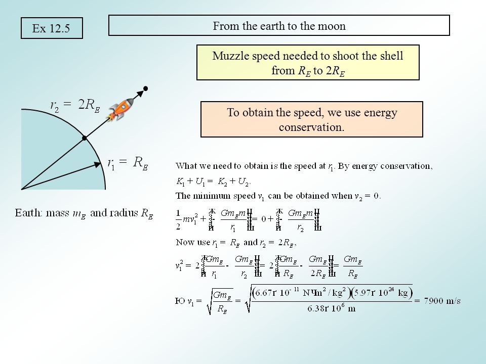 Ex 12.5b From the earth to the infinity Muzzle speed needed to shoot the shell from R E to infinity This is called the escape speed Independent of the mass of the object
