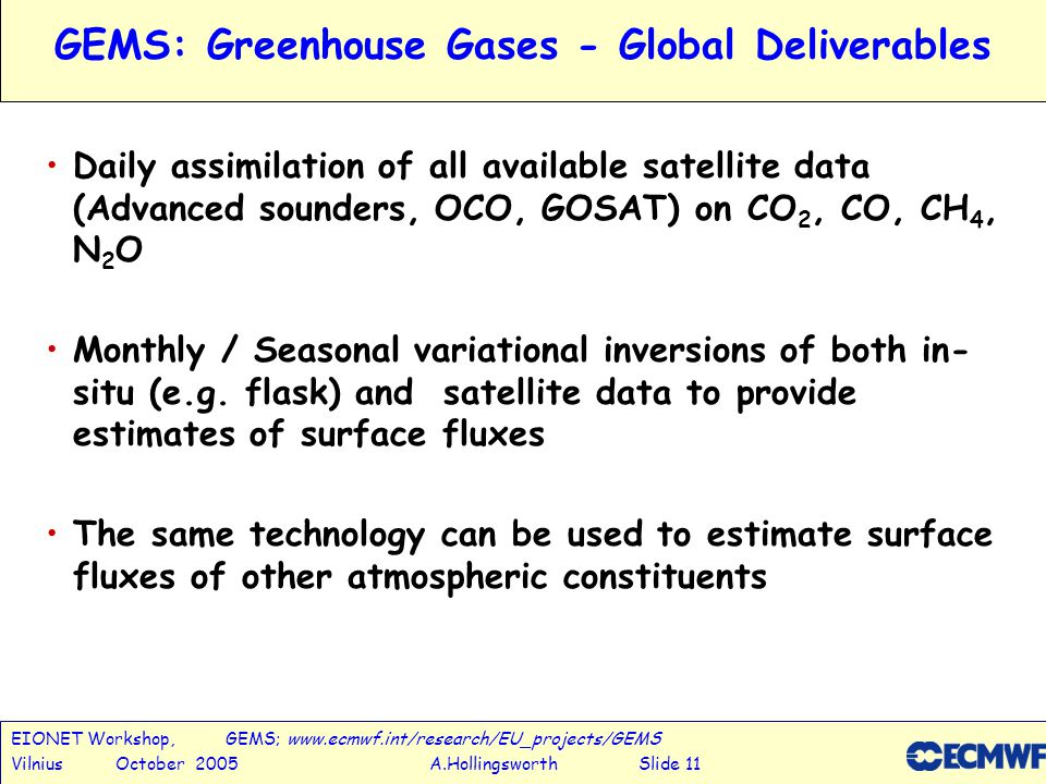 EIONET Workshop, GEMS; www.ecmwf.int/research/EU_projects/GEMS Vilnius October 2005 A.Hollingsworth Slide 12 Motivations for the GEMS:Aerosol project Aerosols are:- An emerging issue for numerical weather prediction.