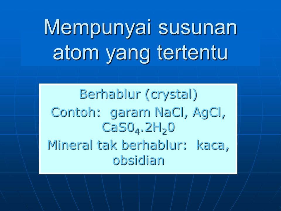 Jenis-jenis mineral 1.Unsur jati (native elements) 2.