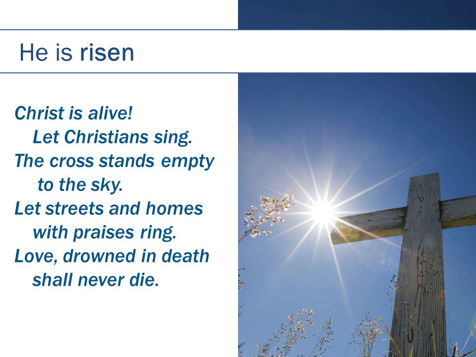 He is risen Christ is alive.